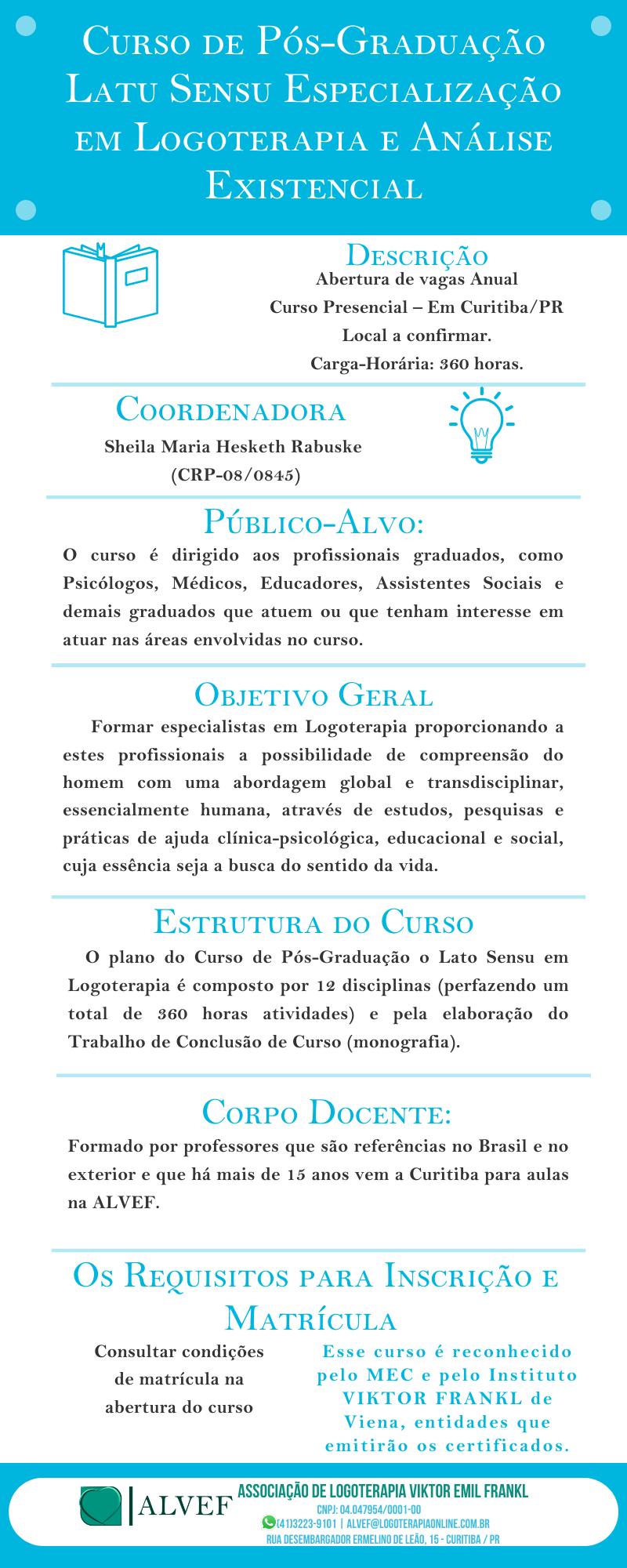Curso de Pós-Graduação Latu Sensu Especialização em Logoterapia e Análise Existencial
